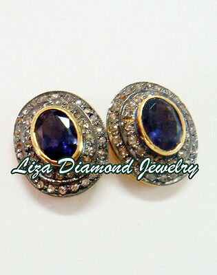 Estate Vintage 4.80c ROSE CUT DIAMOND SAPPHIRE ANTIQUE LOOK WEDDING STUD/EARRING