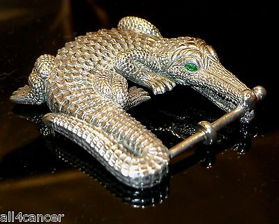 Rare Kieselstein Cord Grand Alligator With Emerald Eyes Sterling Silver Buckle