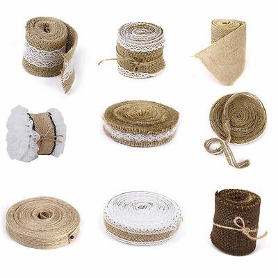 2/3/10M Natural Jute Hessian Burlap Ribbon Rustic Wedding Decor Craft Floristry