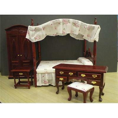 Traditional Bedroom Set with Four-Poster Bed Mahogany for 1:12 Scale Dolls House