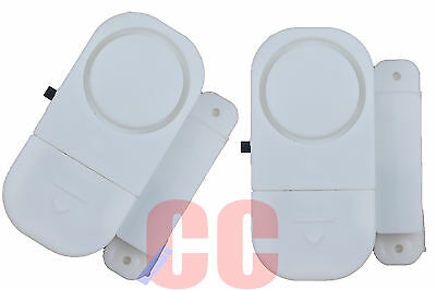 2Pc Window and Door Entry Alarm Set Loud Security Chime Shed Garage Deter Stick