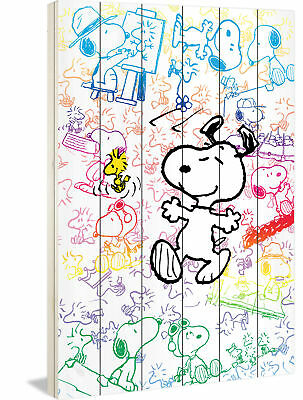 Marmont Hill Snoopy Colorful Painting Print on White Wood