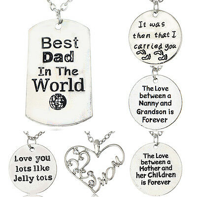 Fashion Silver Plated Crystal Love Family Member Pendant Necklace Jewelry Gifts