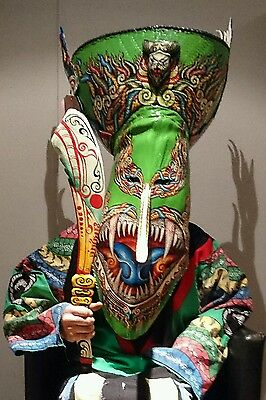 FAMOUS SUPER RARE HUGE  'DANCED' phi ta khon folk mask costume. Thai Carved mask