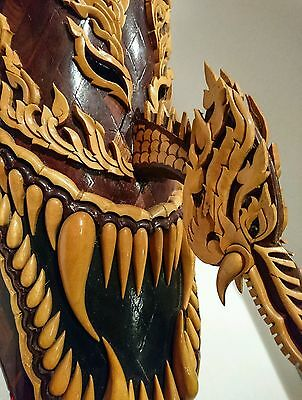 SUPER RARE HUGE  'DANCED' phi ta khon folk mask. Carved  Thai wood dragon mask