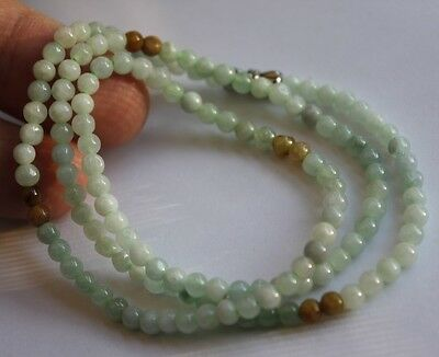 "100% Natural ""Grade A"" Untreated Light Green & Yellow Jadeite JADE Bead Necklace"