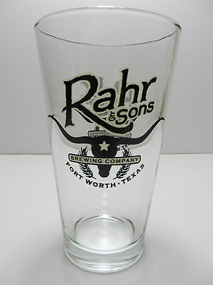 Rahr & Sons Brewing Company Pint Beer Glass Ft. Worth Texas Black / White Logo