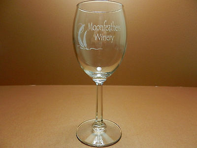 Moonfeathers Winery Stemmed Wine Glass Guthrie Oklahoma CLOSED