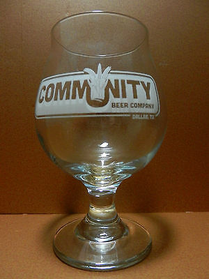 Community Beer Company Stemmed Tulip Beer Glass Dallas Texas Etched