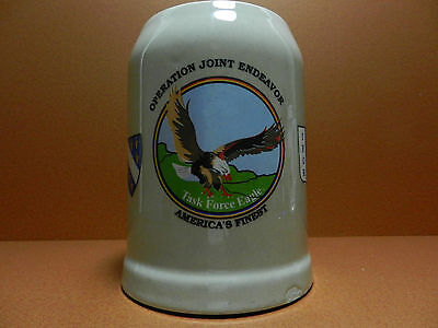 Operation Joint Eneavor 0.5L Glazed Ceramic Stein Task Force Eagle IFOR Bosnia