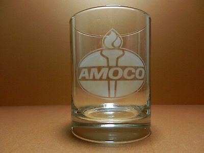 Amoco American Oil Company Etched Advertising Drinking Glass