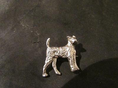 Lovely Art Deco Solid Silver Engraved Dog Brooch