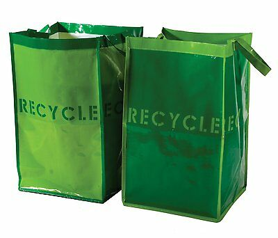 Recycle Bins for Home, Office - Set of 2. Waterproof Bags with Sturdy Handles