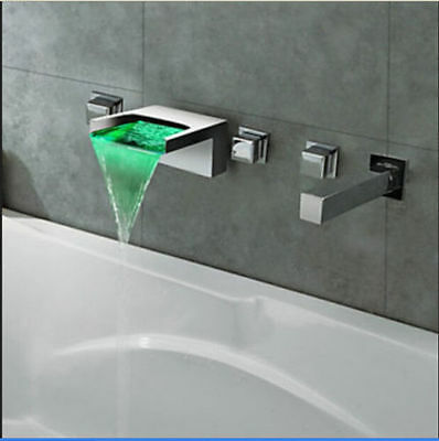 NEW Design Chrome Brass LED Color Changing Waterfall Bathtub Faucet Wall Mounted
