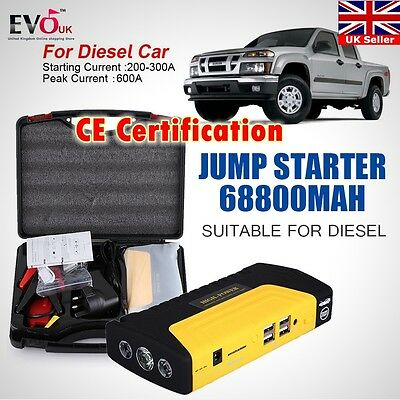 68800mAh 4 USB Car Jump Starter Emergency Charger Booster Power Bank Battery  UK