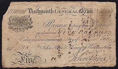 1818 DARTMOUTH GENERAL BANK £5 BANKNOTE * B 786 * G * Outing 639b *