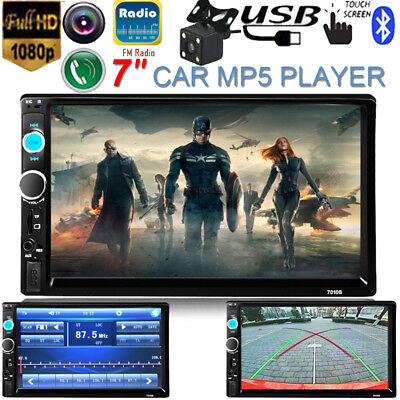 """7"""" Double 2DIN Car Stereo MP5 MP3 Player Bluetooth Touch Screen Radio HD +Camera"""