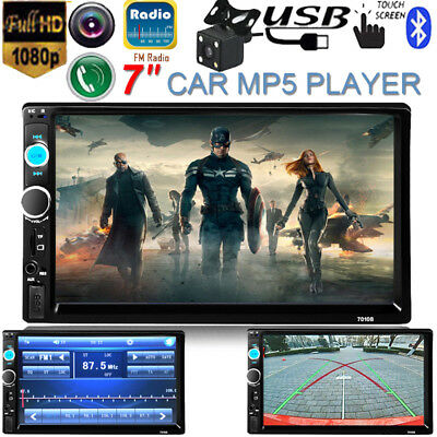 "7"" HD Double 2 DIN Car Stereo MP5 MP3 Player Bluetooth Touchscreen Radio +Camera"