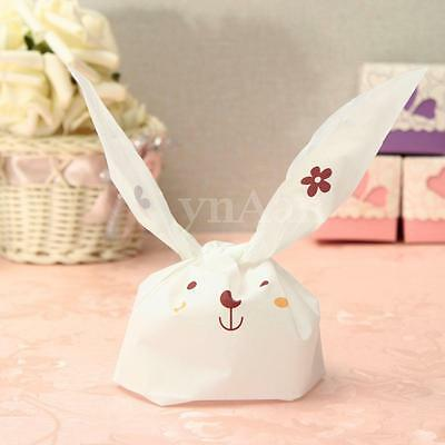 1-100PCS Easter Rabbit Bunny Candy Bag Sweet Cookies Party Wedding Gusset Wrap