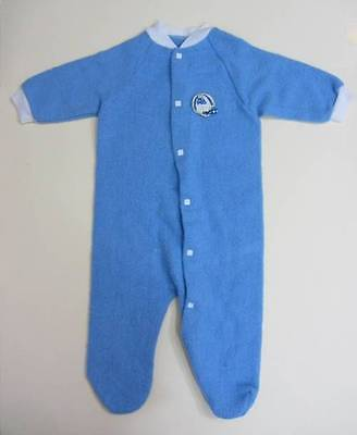 vintage baby sleep suit fleece blue baseball logo 50's 60's age 1 new Doll