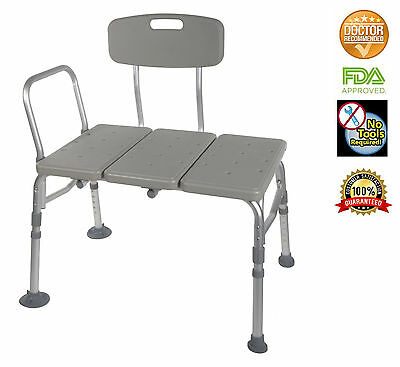 Transfer Bench Adjustable Height Legs, Lightweight with Back Non-slip Seat, Grey