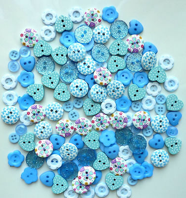 150x15mm MIXED BLUE WOODEN & RESIN BUTTONS SCRAPBOOKING SEWING CRAFT CARD MAKING