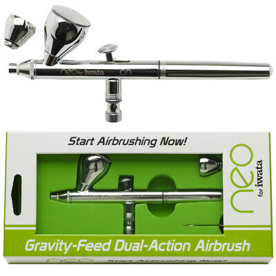 Iwata NEO CN GRAVITY FEED Dual-Action AIRBRUSH .35 Tip w-2 CUPS Starter Beginner
