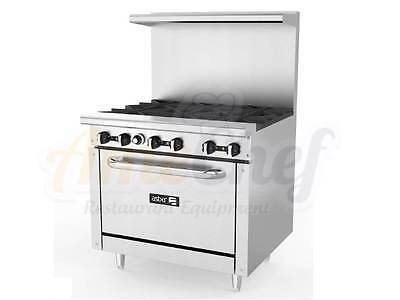 "New 36"" Gas Commercial Range 6 Open Burners, 1 Oven, ASBER AER-6-36"