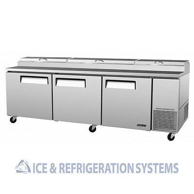 "Turbo Air 93"" Commercial 3 Door Pizza Prep Table Refrigerator Cooler Tpr-93Sd"