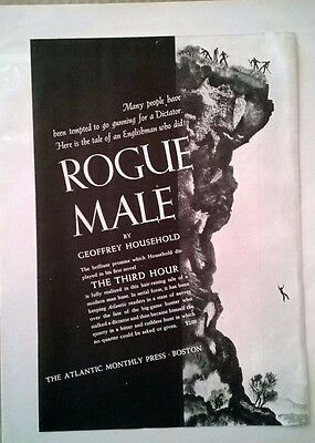 """1939 Vintage Ad Atlantic Magazine - ROGUE MALE by Geoffrey Household 9.5"""" X 7"""""""