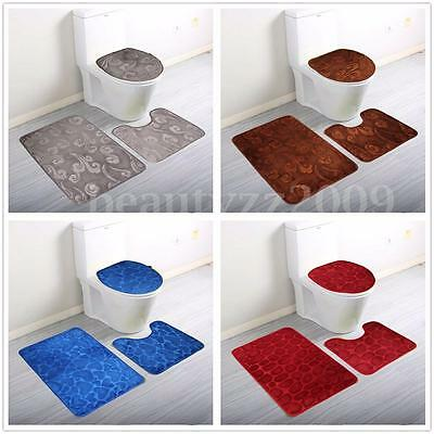 Soft 3 Pieces Bath Pedestal Mat Lid Toilet Non Slip Washable Floor Rugs Sets