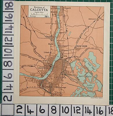Antique India Map ~ Calcutta Environs Howrah Dum-Dum Howrah Bridge Liluah
