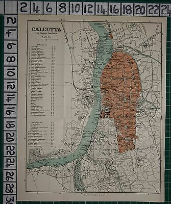 ANTIQUE INDIA MAP ~ CALCUTTA CITY PLAN COURTS COLLEGE CHURCH STREETS POLICE etc