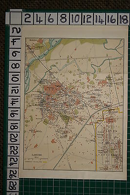 Antique India Map ~ Lahore City Plan Railway Stations Gardens Cathedral Mosque