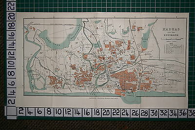 ANTIQUE INDIA MAP ~ MADRAS CITY PLAN ENVIRONS HOTELS STATIONS MILLS HOSPITAL etc
