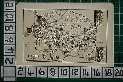 Antique India Map ~ Bijapur City Plan Railway Station Gates Bastion Ibrahim