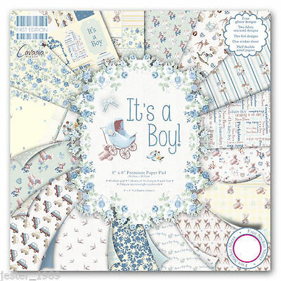 DOVECRAFT Paper 8x8 SAMPLE PACK FIRST EDITION It's A Boy Scrapbooking