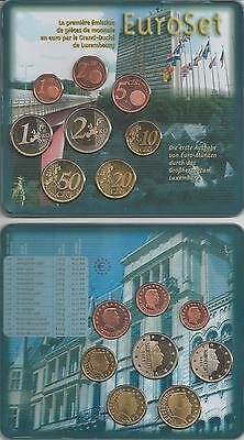 original Euro coin set 2002 from Luxembourg, brilliant uncirculated, st, BU