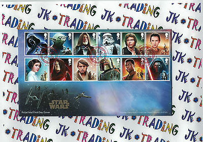 Star Wars: The Force Awakens GB Royal Mail Stamps FDE 20.10.15 Tallents