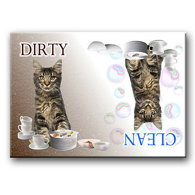 MAINE COON CAT Clean Dirty DISHWASHER MAGNET No 3