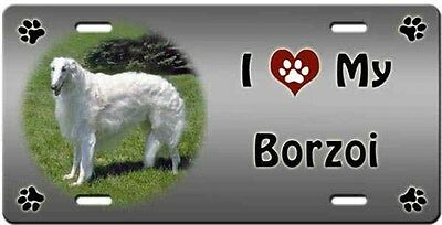 Borzoi License Plate - Love