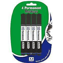 Anker Stationery Pens Permanent Black Markers x4 Pack of 4