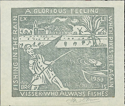 'Visser' Pike Fishing 1953  Ex-libris  Bookplate QR1090