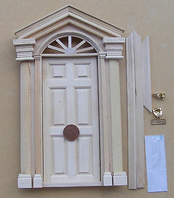 External Wooden Door With Handles Knocker & Letter Box Dolls House Miniature 08