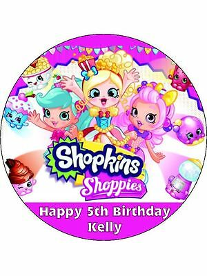 """Shopkins Shoppies  Personalised 7.5"""" Rice Paper Birthday Cake Topper D1"""