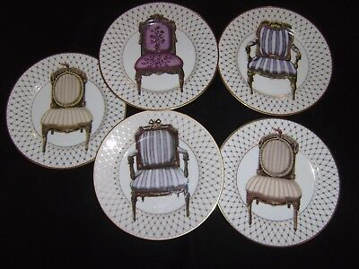 5 FITZ & FLOYD 8 1/4 Inch Chaise Chair Plates Japan/USA Discontinued 1997