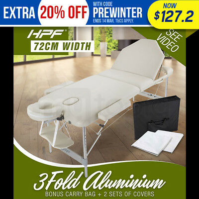 NEW HPF Cream Portable 3 Fold Aluminum Massage Table Therapy Waxing Beauty Bed
