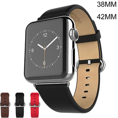 Leather Wrist Strap Band Classic Buckle For Apple Watch 38mm/42mm Series 2/1