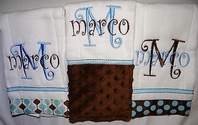 3 Brown and Blue Personalized Embroidered Burp Cloths