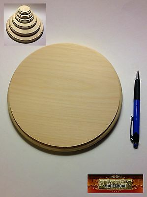 """M00974 MOREZMORE 1 Unfinished 8"""" Round Wood Base Wooden Plaque Stand T20A"""